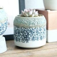 미니 세라믹 꽃 냄비 3 개 화분 꽃 상자 데스크탑 도자기 중국 스타일의 유리 높은 품질의 정원 화분
