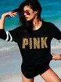 T Shirt Women 2017 Hot Outono Inverno Longo Da Luva de Lantejoulas Harajuku ROSA Letra Camisa do Basebol T Ocasional Listrado Preto Rua topos