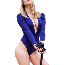 Deep V-neck Sexy Bodysuit Women Front Zipper Long Sleeve Bodysuit Female Blue Rompers Womens Jumpsuit Overalls 2017 Body Mujer