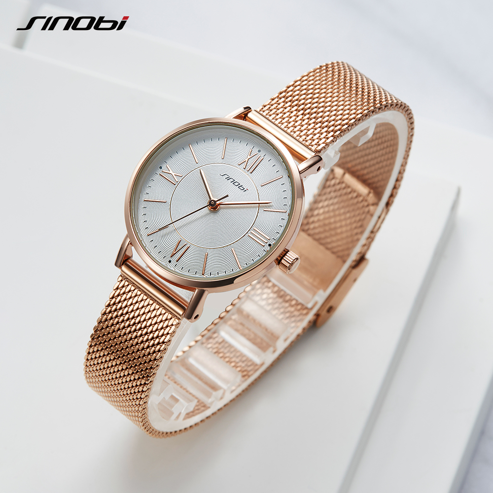 SINOBI Simple Women's Wrist Watches Gold Watchband Top Luxury Brand Girl Look Crystal Quartz Clock Ladies Wristwatch Reloj Mujer