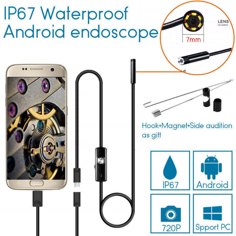 5.5mm 7mm Endoscope Camera Flexible IP67 Waterproof Inspection Borescope Camera For Android Micro Usb PC Notebook Sewer Led Cam
