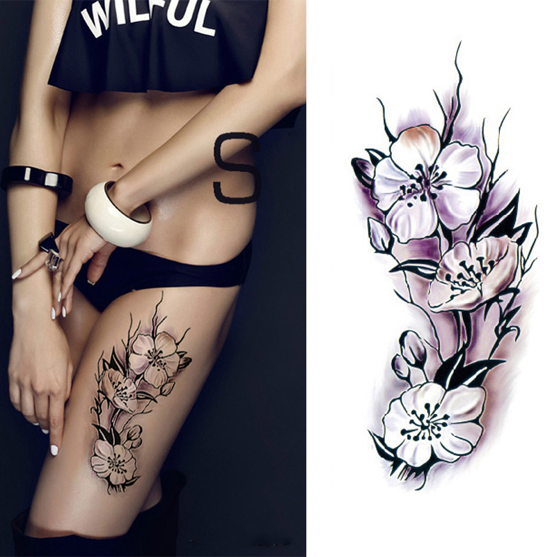 Sexy romantic dark rose flowers fake body art flash tattoo sleeve