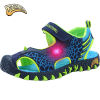 2017 LED Children Summer Shoes Dimensional Dinosaurs Fashion Boys Sandals Cut Out Non Slip Boys Beach
