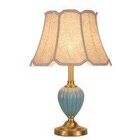 American style full copper Desk lamp luxury ceramic art decoration light minimalist fashion creative study bedroom reading lamp