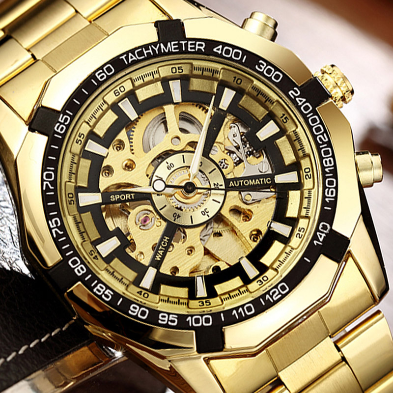 Skeleton Automatic Mechanical Watch Winner Gold Men Watches Stainless Steel Bracelet Sports Luxury Male Clock Chinese Wristwatch