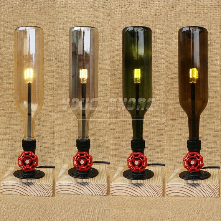 Ernstig Moderne Stijl Houten Wijnfles Bureaulamp Voor Restaurant Cafe Bar