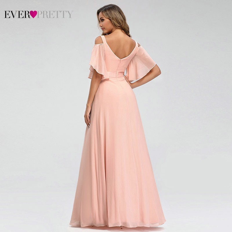 Image 2 - Ever Pretty Elegant Pink Evening Dresses Long A Line Off The Shoulder V Neck Sexy Formal Party Gowns EP07871PK Abendkleider 2019-in Evening Dresses from Weddings & Events