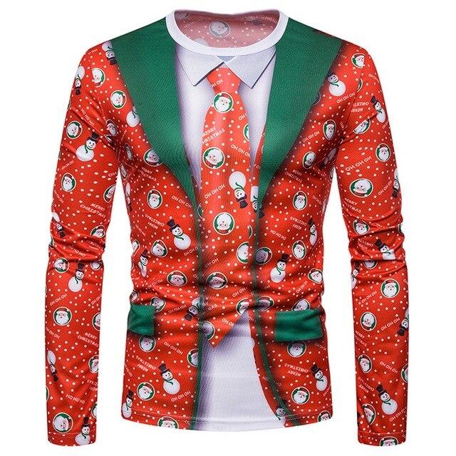 Nuevo caliente Navidad T camisa de los hombres de moda Animal impresión para hombre ropa de invierno Casual de manga larga cuello redondo Streetwear camiseta roja