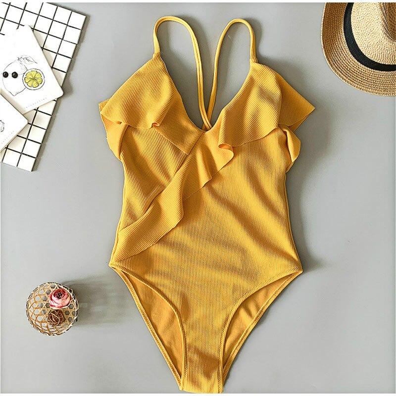 Responsible Ruffles Sexy V-neck Women Bodysuits Skinny Causal Slim Swimsuit 2019 Summer Fashion Ladies Beach Bathing Suit Swimwear Bodysuits And Digestion Helping Women's Clothing