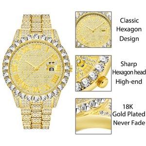 Image 2 - Missfox relógio masculino 2020 mais vendido marca de luxo ouro masculino moda relógios masculino grande pulseira de diamante relógio de luxo masculino caixa de presente
