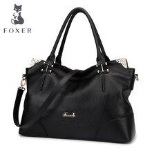 FOXER Marke frauen Aus Echtem Leder Umhängetasche Weiche Handtasche und Trage Casual Weiblichen Handtasche Mit Rose Metall