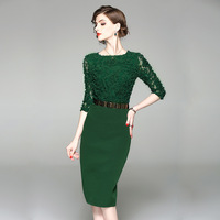 Green Black Formal Lace Dress Applique Prom Gown Crystal Evening Half Sleeve Sashes Party Gown Mother of Bride Bandage Dresses