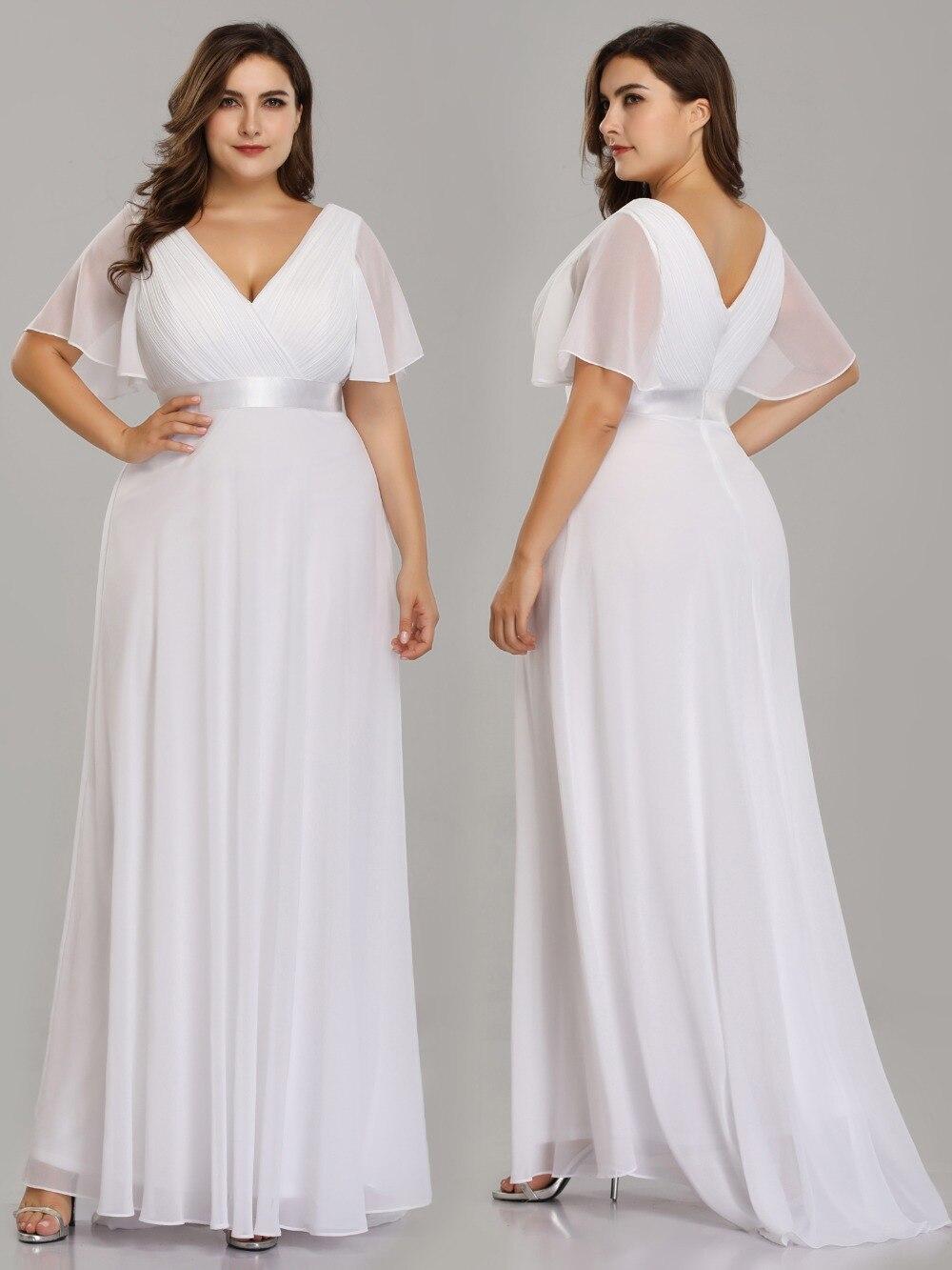 Image 5 - Plus Size Wedding Dress 2019 Ever Pretty Beach Simple A line Chiffon White Robe De Mariee Elegant V neck Vestido De Noiva-in Wedding Dresses from Weddings & Events