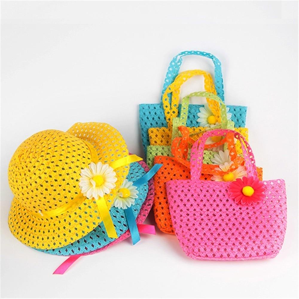 Lovely Multi Color Summer Sun Hat Girls Kids Straw Hat Cap Beach Hats Bag Flower Tote Handbag Bags Suit Brand New