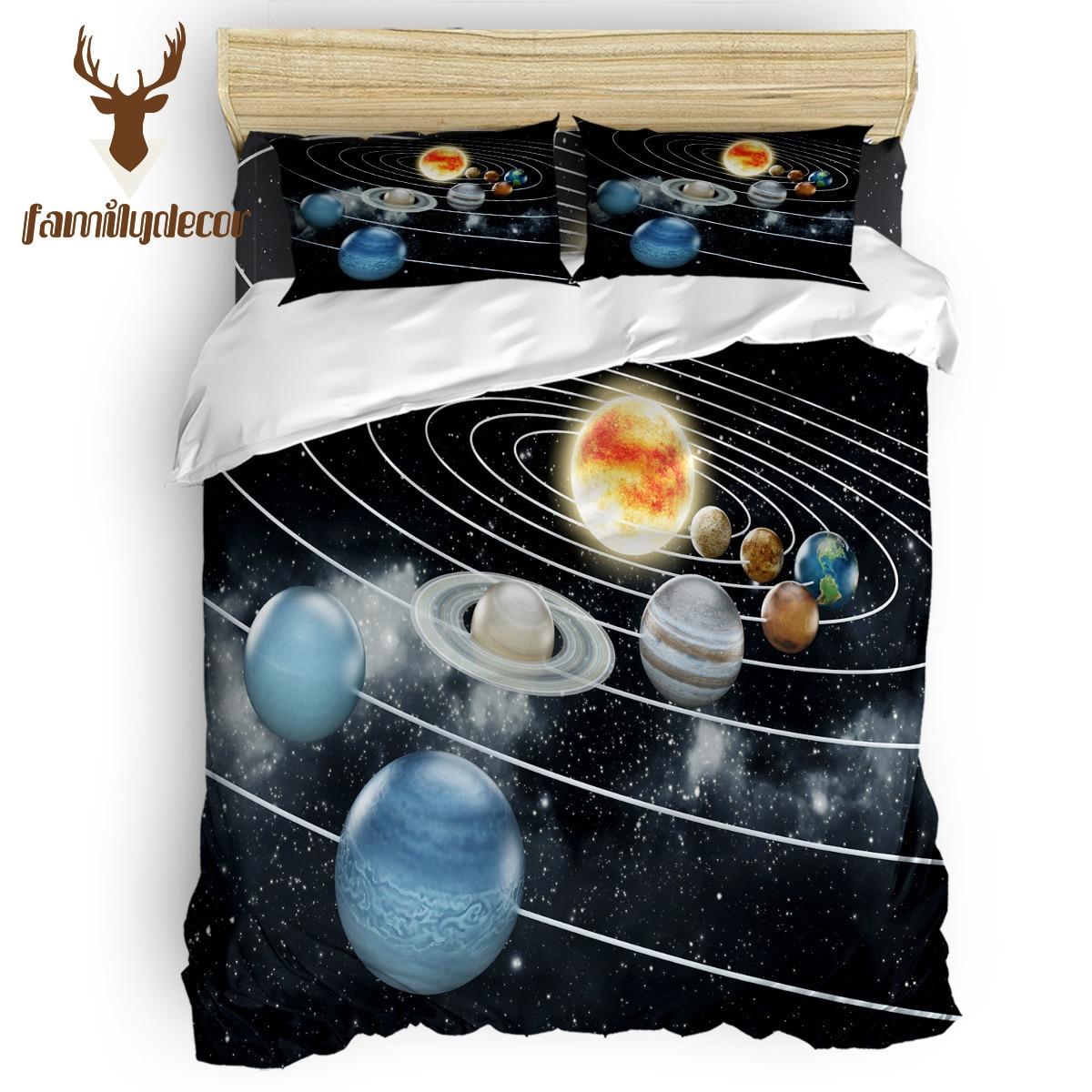 Famille décor planète système solaire espace Alien housse de couette literie 4 pièces ensembles de literie saint-Patrick matelassé couette ensemble