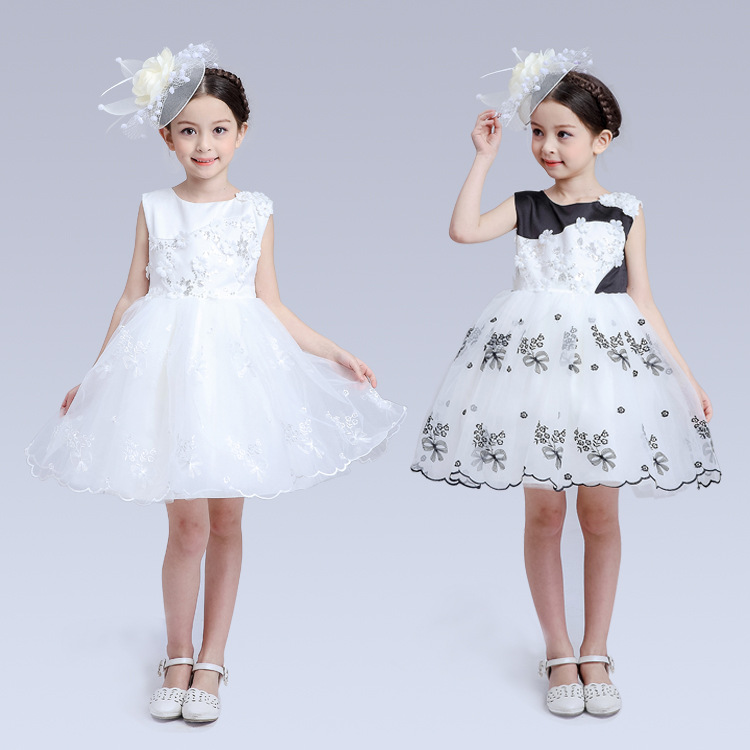 New Children's Wear Lace Wedding Girls Flower Palace Dress Princess Dress Kids Clothing White Black