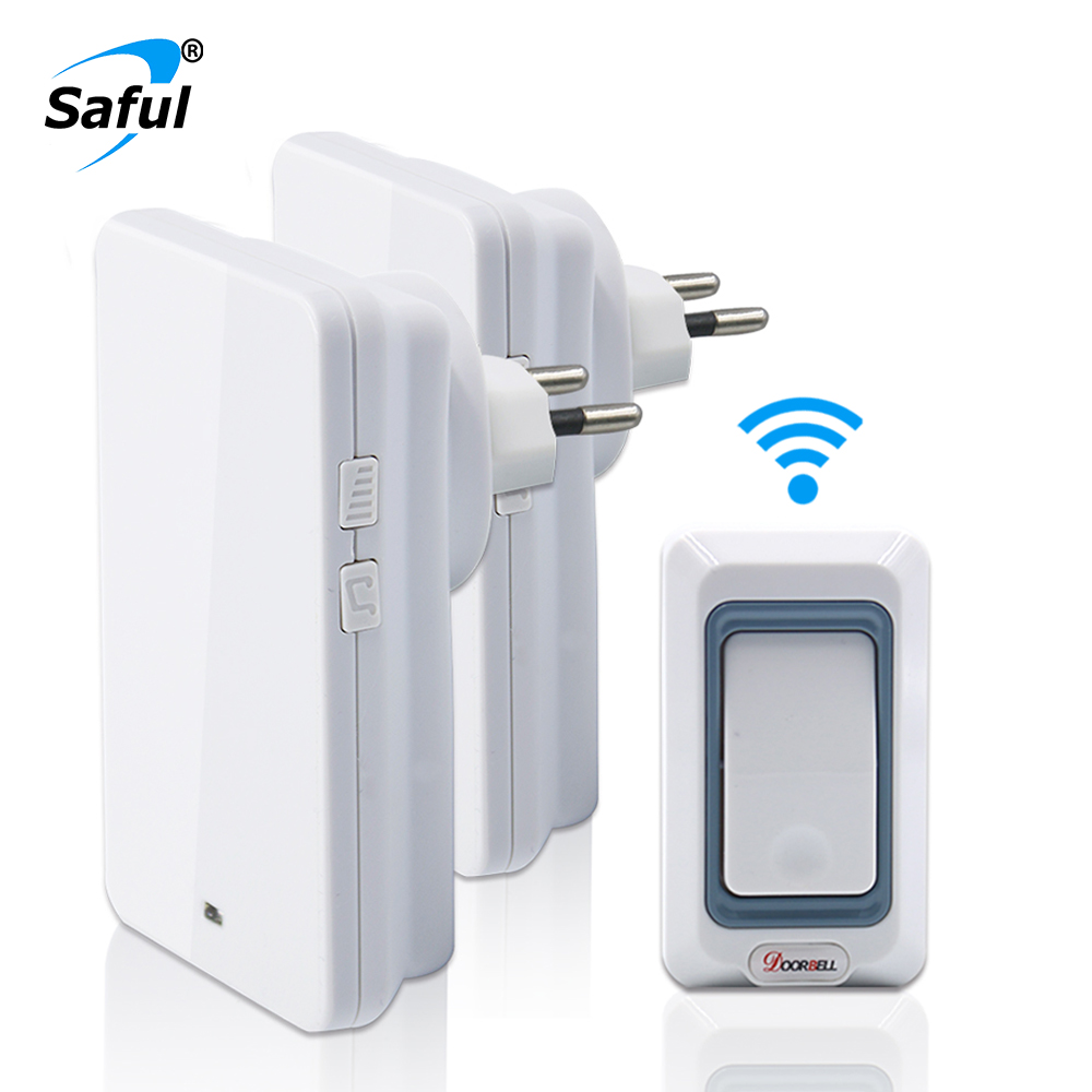 Saful Plug-in Wireless Doorbell Waterproof Led Light 28 Ringtones with 1 Push Button+2 Receiver EU/US/AU/UK