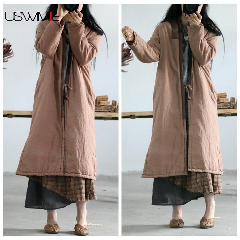 2019   Trench   Coat For Women Literature Simple Single Button V-neck Long Sleeve Plus Size Hem Vent Long Section Women Coat USWMIE