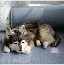WYZHY  Leather simulation animal siberian husky dog home creative decoration craft gift 36CMx25CMx14CM
