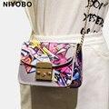 Novo pequeno crossbody sacos para as mulheres bolsas de ombro cadeia Graffiti PT1019 couro PU bolsa das mulheres