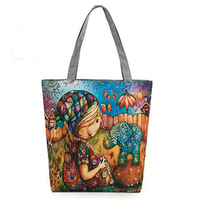 5pcs Of Girl S Shoulder Bag Printing Elephant Girl Printing Bag Shopping Bag Color