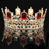 Vintage Red Crystal Rhinestone Gold Tiaras and Crowns for Queen Bridal Wedding Hair Jewelry Diadem Ornament