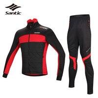 Santic для мужчин Велоспорт Джерси Набор 2018 зима флис тепловой велосипед Джерси ветрозащитный Велоспорт Комплект Ropa Ciclismo велосипедная одежда