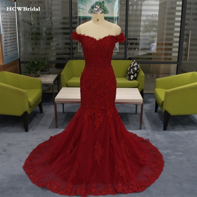 Elegant Burgundy Mermaid Evening Dress Chic Beading Lace Tulle Long Formal Dresses 2019 High Quality Occasion Women Gowns