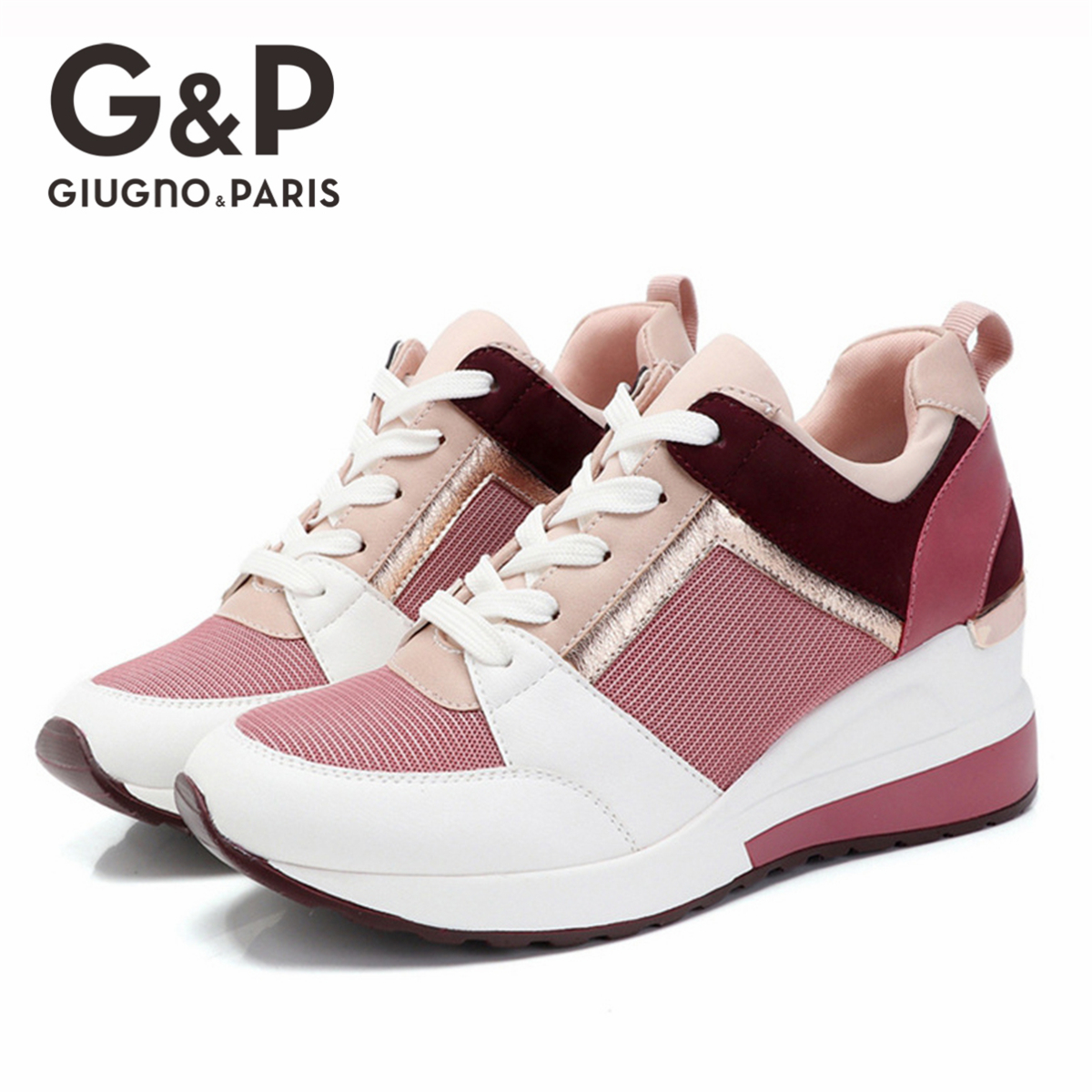 2020 Brand Sneakers Wedge Thick Soled Women Spring Shoes Designer Ladies Shoes Lightweight Increase 6 Cm