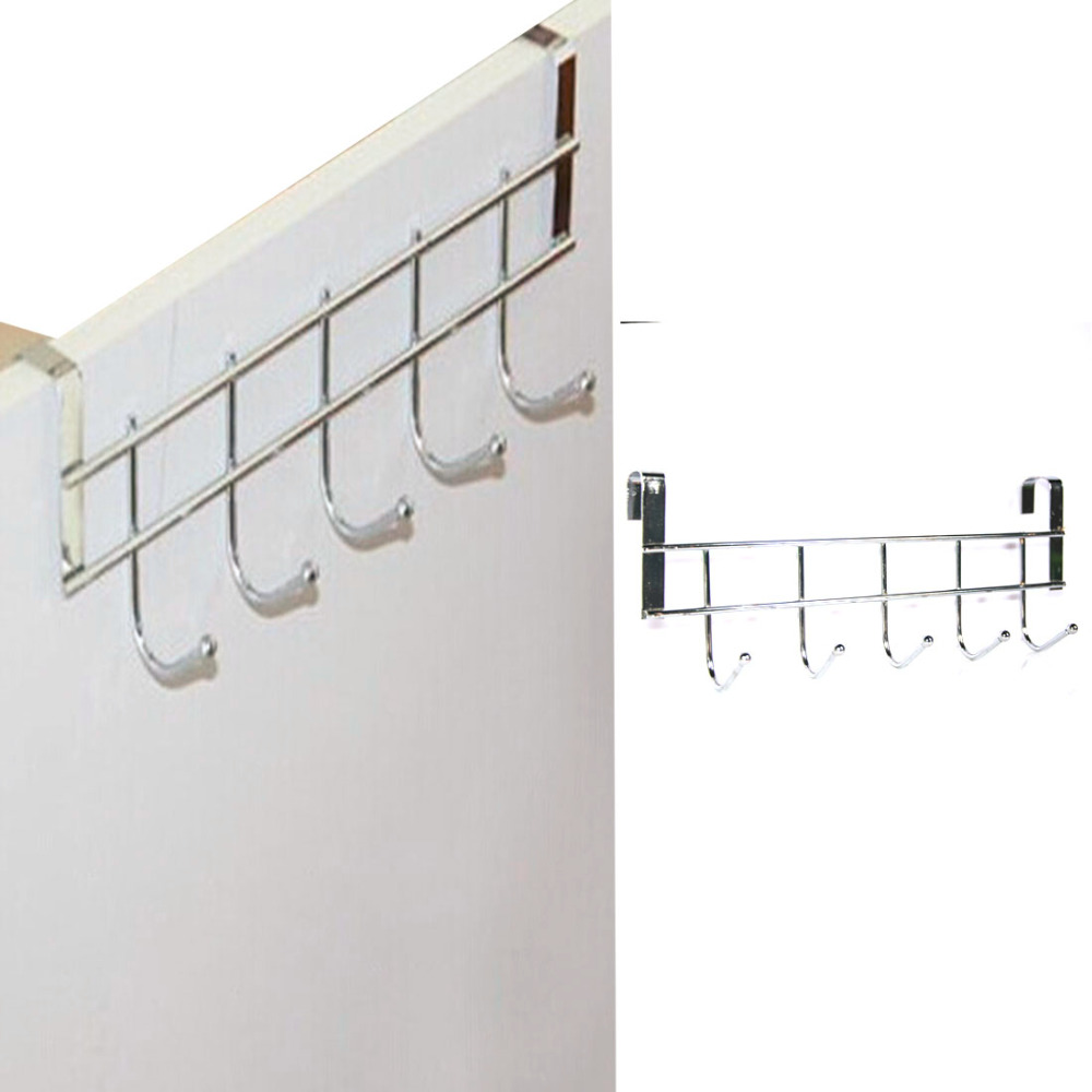 Free Shipping New 5-Hooks Home StainSteel Bathroom Kitchen Hat Towel Hanger Over Door Hanging Rack Holder ...