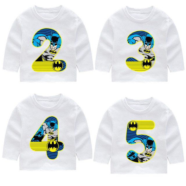 2 14 Year OldKid Happy Birthday Marvel Batman Number 19th Long Sleeve Toddler T Shirts Autumn Boy Girl Tops Tee