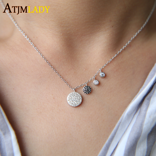 Collares Sale Maxi Necklace Collier 2018 New 925 Sterling United In Love Zirconia Disco Charm Women Thin Chain Choker Necklace