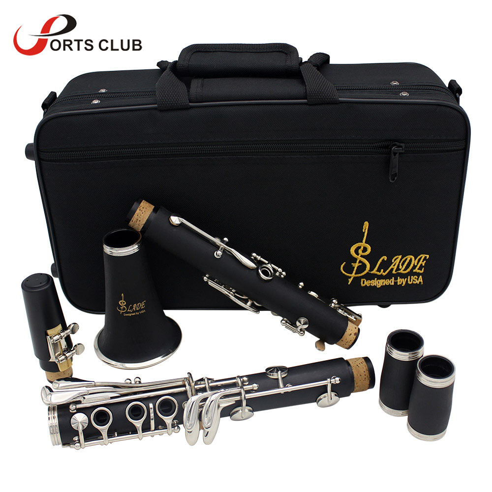 Clarinet ABS 17 Key BB  Flat Soprano Binocular Clarinet With Cleaning Cloth Gloves 10 Reeds Screwdriver Case Woodwind Instrument