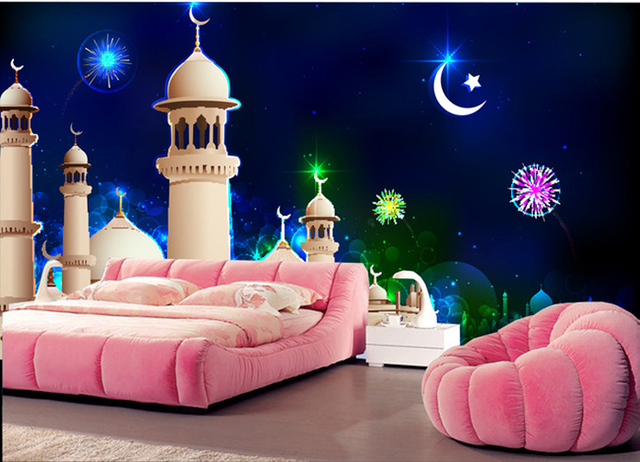 Wholesale Dream Castle Moon 3d Cartoon Mural Wallpaper For Child Baby Kids  Room 3d Wall Photo