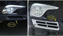 Yimaautotrims Chrome спереди нижний Туман свет лампы чехол Накладка для Toyota Highlander 2011 2012 2013 авто аксессуары