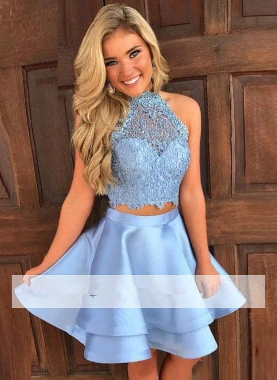 Sky Blue 2019 Homecoming   Dresses   A-line Halter Satin Lace Two Pieces Short Mini Elegant   Cocktail     Dresses