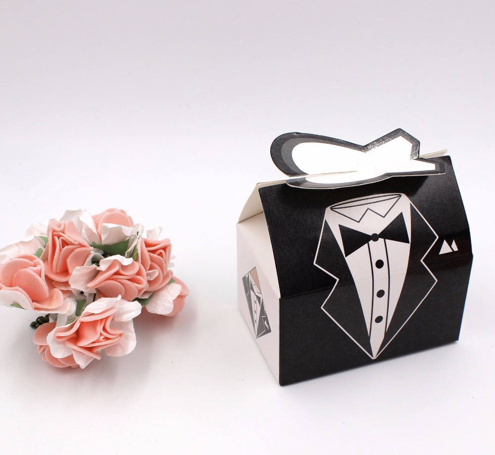 100 Pcs New European Pink/Black Dress & Tuxedo Bride Groom Candy ...