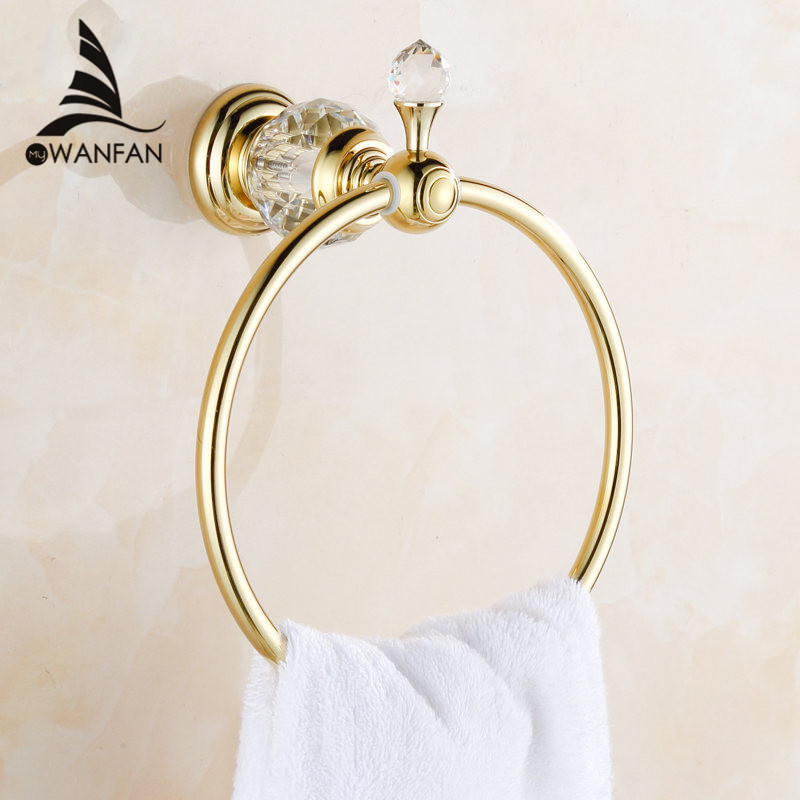 Towel Rings Luxury Crystal Brass Gold Towel Ring Towel Holder Bath Towel Bar Bathroom Accessories Home Decoration Useful HK-23 fully copper bathroom towel ring holder silver