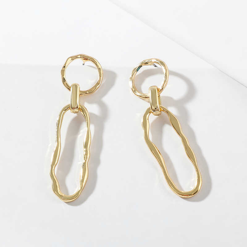 Vintage Long Oval Round Dangle Earring for Women Gold Color Simple Geometry Hollow Drop Earring Party Wedding Brincos Jewelry