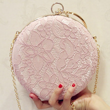 Elegant Lace Flower Box Women Clutch bag Dinner Wedding Bridal Party Hand Bag Vintage White Nude Round Evening for