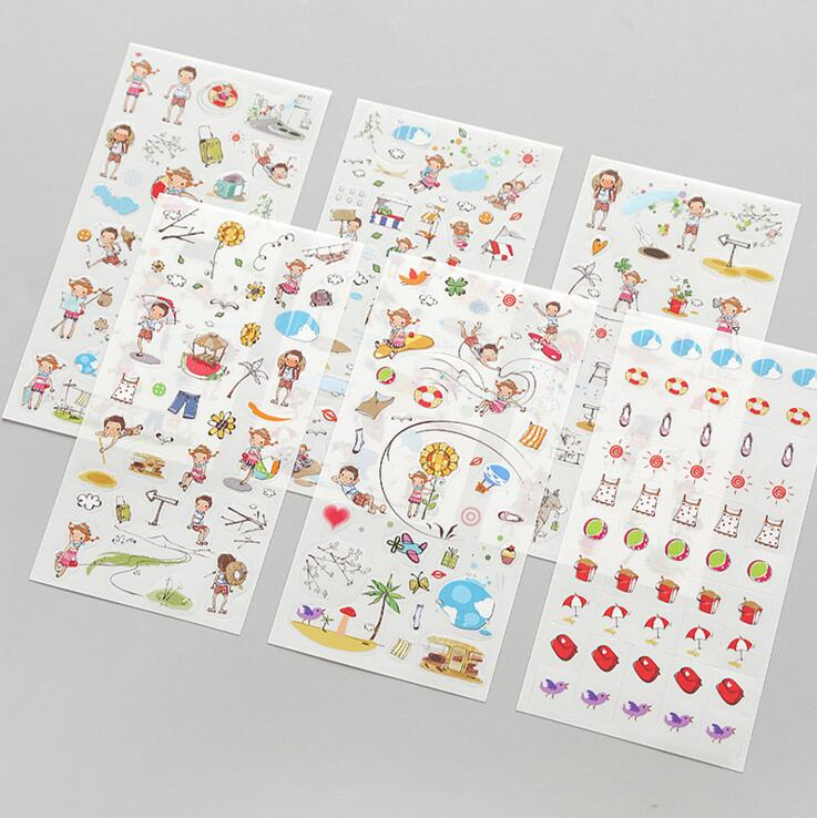6Pcs Drawing Planner Paper Diary Decor Sticker Pvc Scrapbooking Gift
