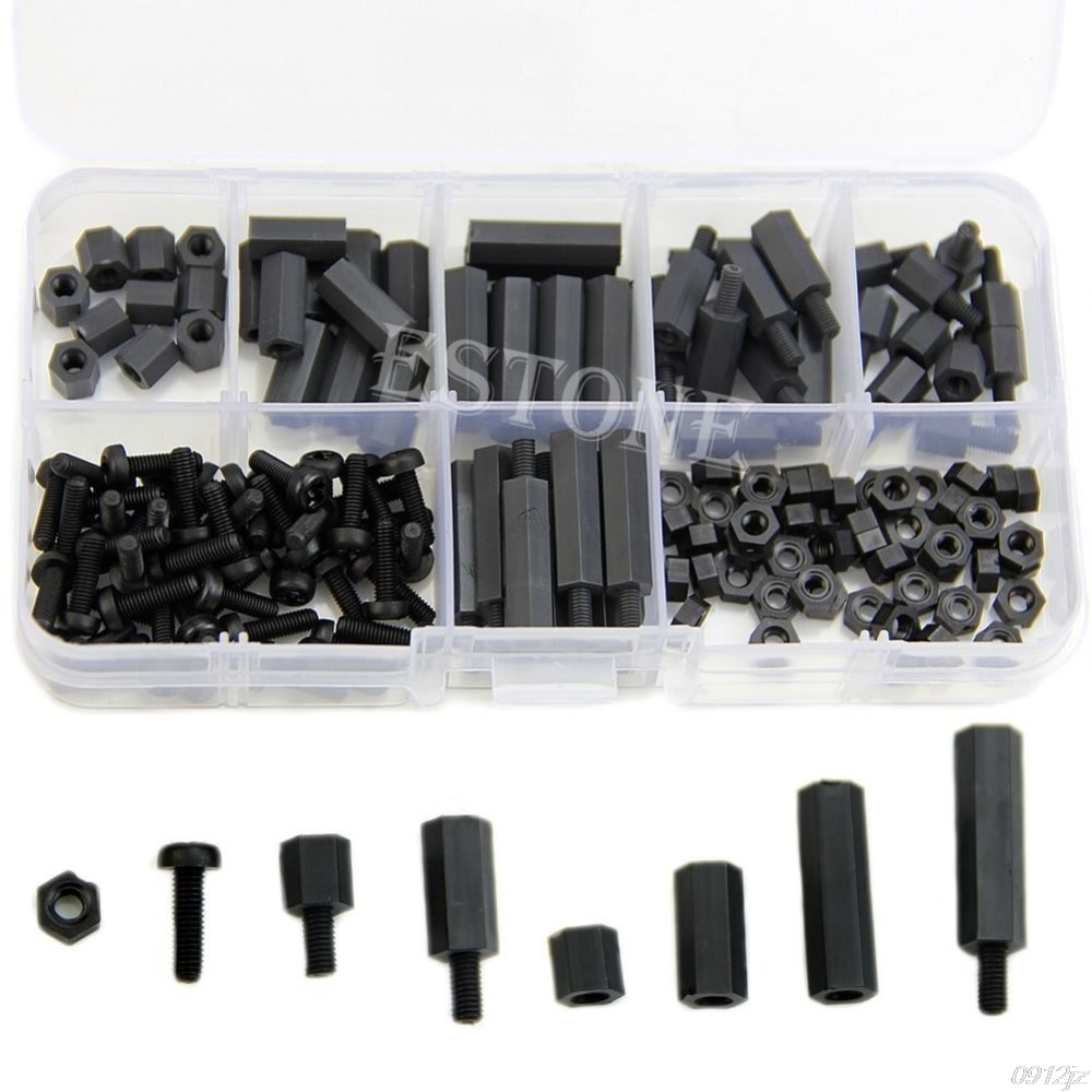 160Pcs M3 Nylon Black M-F Hex Spacers Screw Nut Assortment Kit Stand off Set Box New Drop ship LS'D Tool qiang
