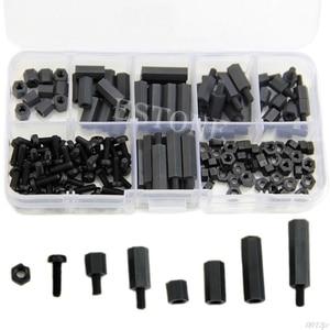 160Pcs M3 Nylon Black M-F Hex