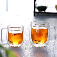 New Double Wall Glass 25ml Transparent Cup With Handle High-grade Heat-resistant Wine For Kitcher Drink Tools