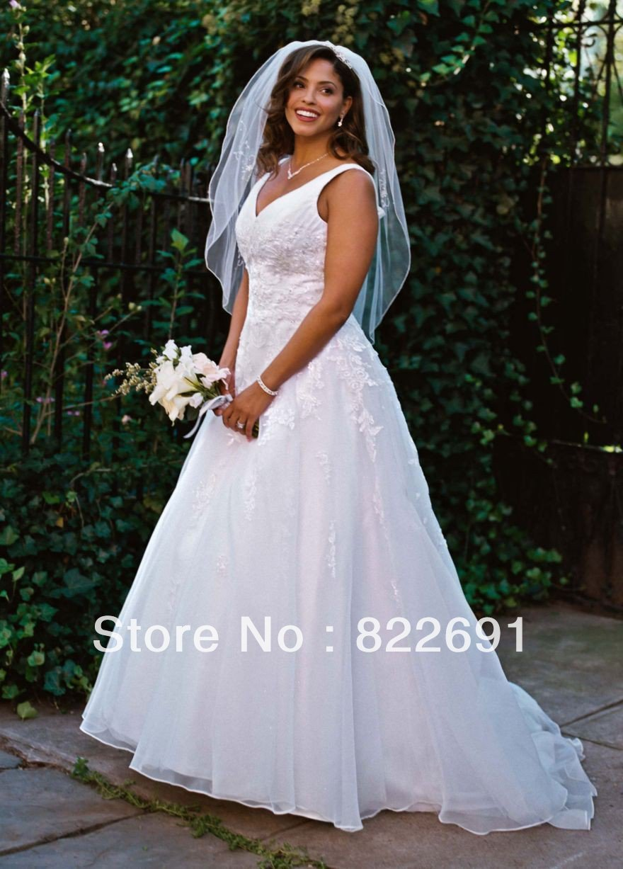 Factory Custom Made David\'s Bridal V Neck Organza A Line Gown Plus ...