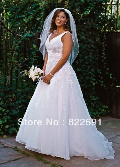 f3ab1d9a3ab Factory Custom Made David s Bridal V-Neck Organza A-Line Gown Plus Size  Beaded Lace Appliques Wedding Dresses 9V3434