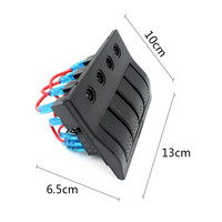 New Arrival Waterproof 12V 4 Gang Marine Boat LED Rocker Switch Panel With Circuit Breaker 170919