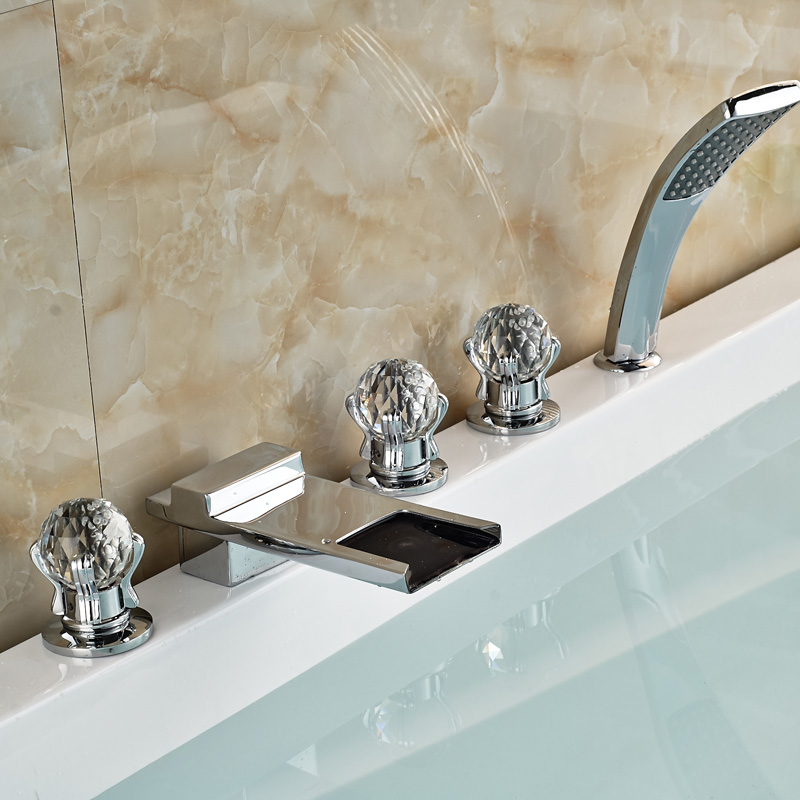 Luxury Cristal Handle Waterfall Tub Mixer Faucet Set 5pcs Bathroom System with Handshower