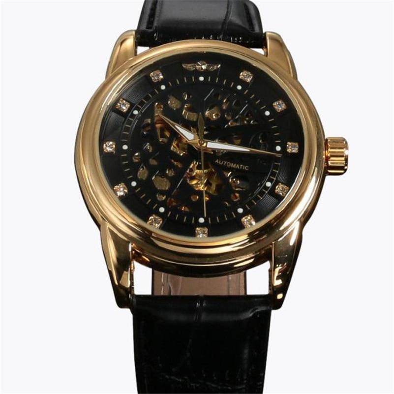 Irisshine i0727 high quality Clock brand men watch Men New Classic Transparent Steampunk Skeleton Mechanical Leather
