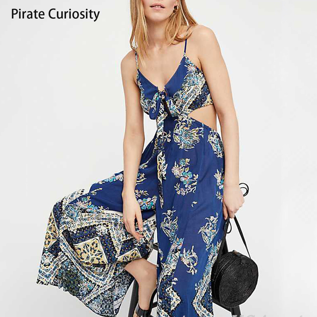 338f3a534536 Pirate Curiosity Floral Women Jumpsuit Fashion Spaghetti Strap Long  Playsuits Casual Beach Wide Leg Pants Jumpsuits Overalls